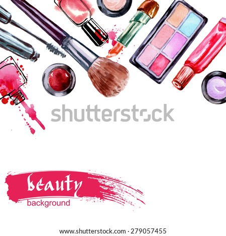 watercolor cosmetics pattern