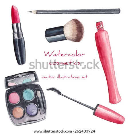 watercolor cosmetics set hand