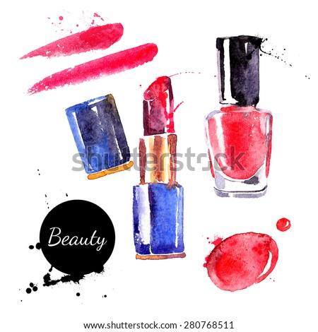 watercolor cosmetics set hand
