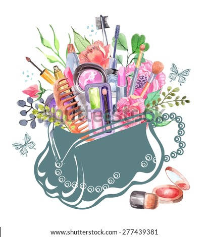 watercolor cosmetics set with