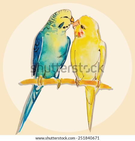 watercolor couple parrots green