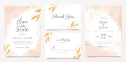Watercolor creamy wedding invitation card template set with golden floral decoration. Abstract glitter background save the date, invitation, greeting card, multi-purpose vector