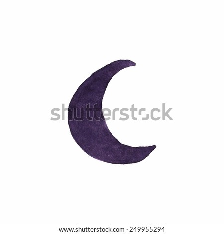 watercolor crescent on the