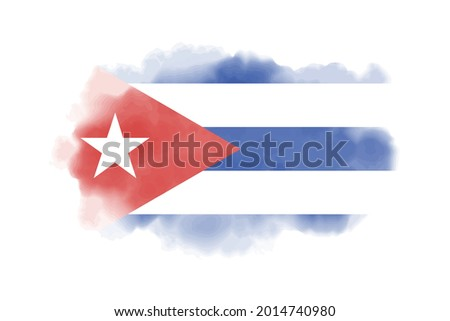 Watercolor Cuba flag background. Vector.