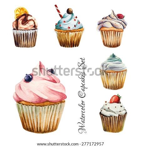 Stock Photo Watercolor cupcakes set with different type of cupcakes: strawberry, blueberry, chocolate. citrus, raspberry. Isolated. Easy to use for different design of menu, advertisement, cafe etc