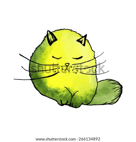 watercolor cute yellow cat