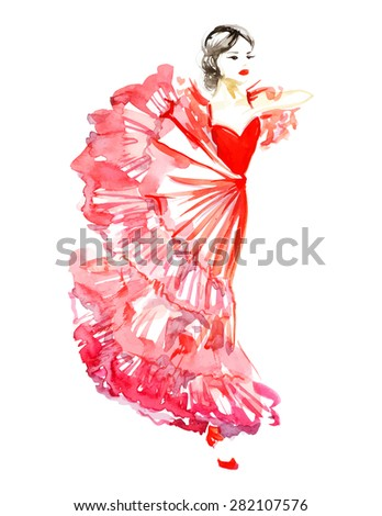 watercolor dancing girl in red