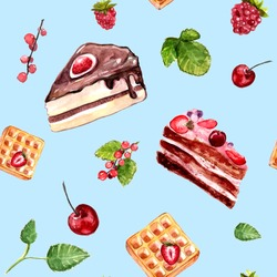 Watercolor desserts seamless pattern with cakes, red currant and cherries. Food background with cafe assortment.