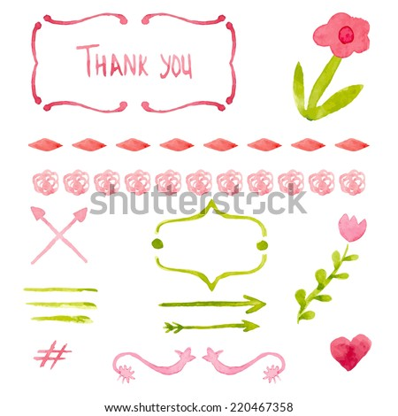 Watercolor drawing elements for scrapbooking or other design Vector illustration