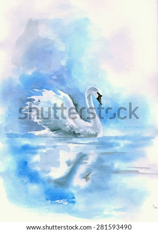 watercolor drawing of a swan on