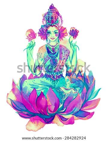 watercolor drawing of lakshmi