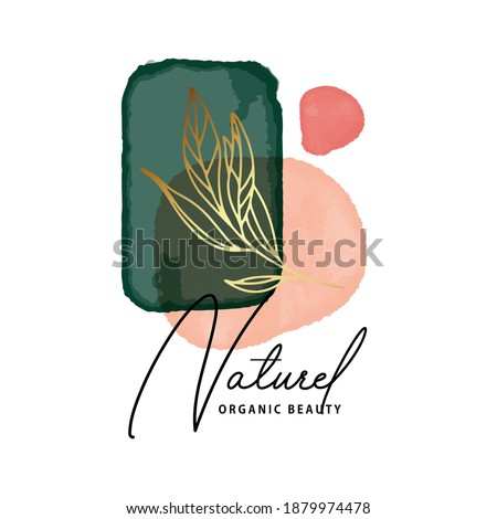 Watercolor emerald green abstract painting. Modern deep coral Pastel minimal gentle design. Organic branding creative icons with gold frame. Elegant Skin product  logo design, vector