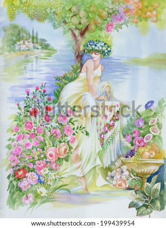 watercolor fairy woman