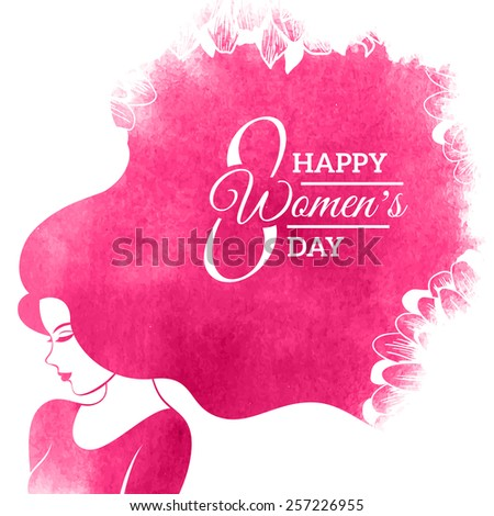 Watercolor Fashion Woman with Long Hair and floral pattern. Vector Illustration.  8 March Day