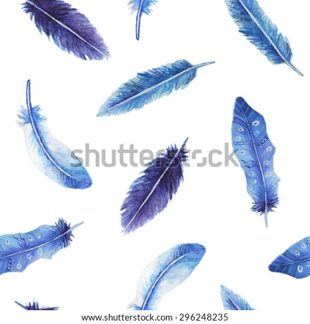 watercolor feather seamless