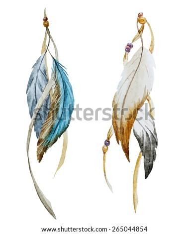 watercolor  feathers   boho