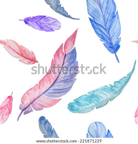 watercolor feathers seamless