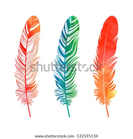 watercolor feathers set on