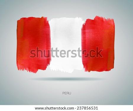 Watercolor Flag of Peru. Vector