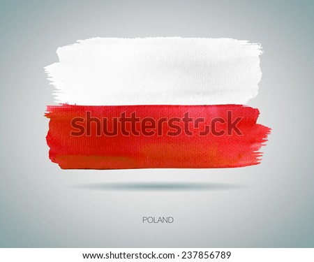 watercolor flag of poland