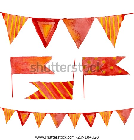 Watercolor flags and garlands set in vector