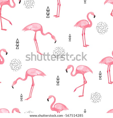 Watercolor Flamingo seamless pattern. Vector background design with flamingos for wallpaper, fabric, textile.