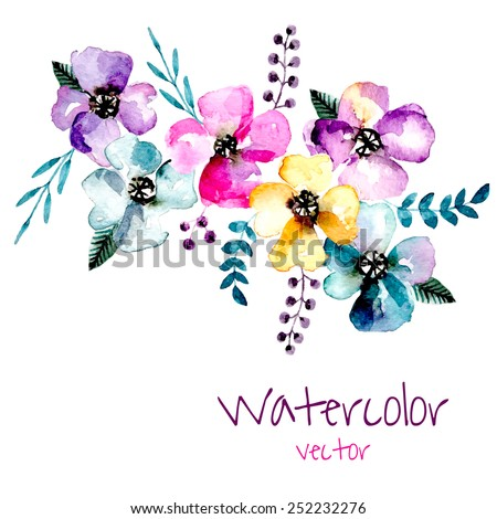 watercolor floral composition
