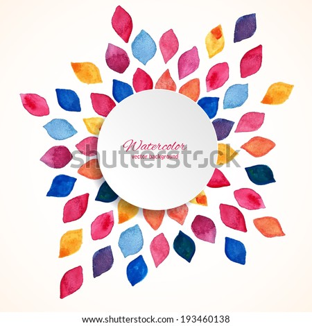 Watercolor floral frame Design template Vector illustration