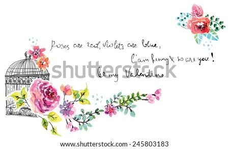Watercolor floral frame for wedding invitation, save the date illustration with retro cage, Valentine's day decorations