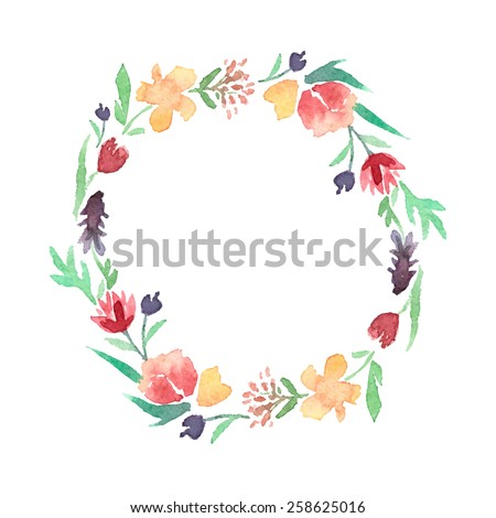 watercolor floral frame of