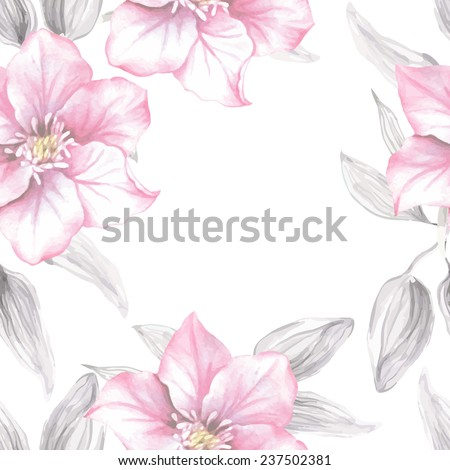 Watercolor floral seamless pattern with pink flowers