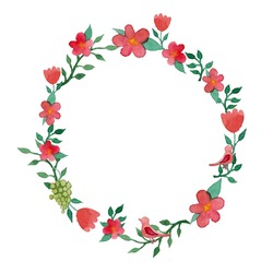 Watercolor floral wreath frame in vector
