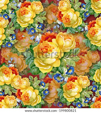 Watercolor flower background. seamless pattern vector