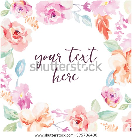 watercolor flower frame vector