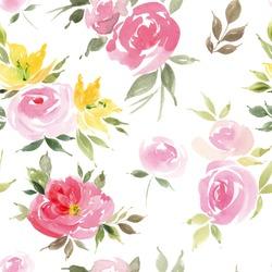 Watercolor flowers. Seamless pattern. Vector. Illustration. Gentle