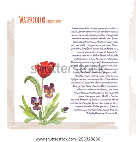 Watercolor flowers. Tulip and flower Pansy. Place for text.