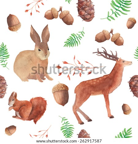 watercolor forest wildlife