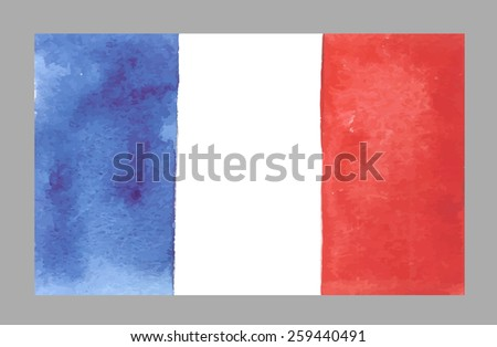 watercolor france flag vector