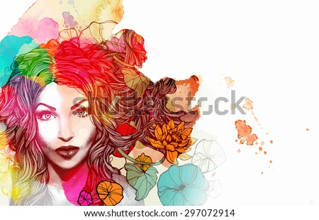 stock-vector-watercolor-free-hand-sketch-with-modern-hair-girl