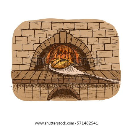 Watercolor fresh loaf of bread and a bread oven in graphic style
