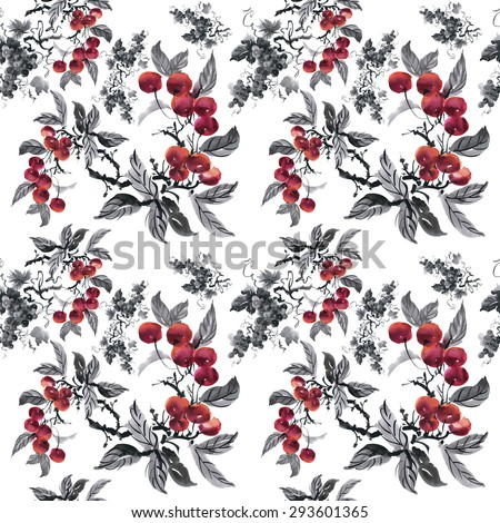 Watercolor garden rowan plant seamless pattern on white background vector illustration