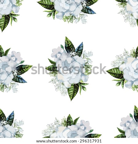 Watercolor gardenia and gypsophila vignette. Vector wedding seamless pattern