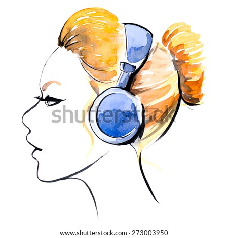 watercolor girl in headphones