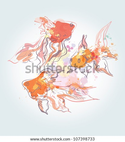 Watercolor golden fishes