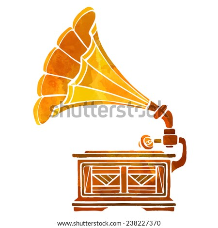 watercolor golden gramophone