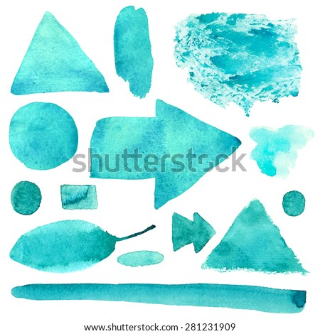 Watercolor green abstract brush strokes, stripes, lines, leaf, paint stains, triangle, square, borders, arrows, frames isolated on white background. Hand painting on paper. Art design elements set