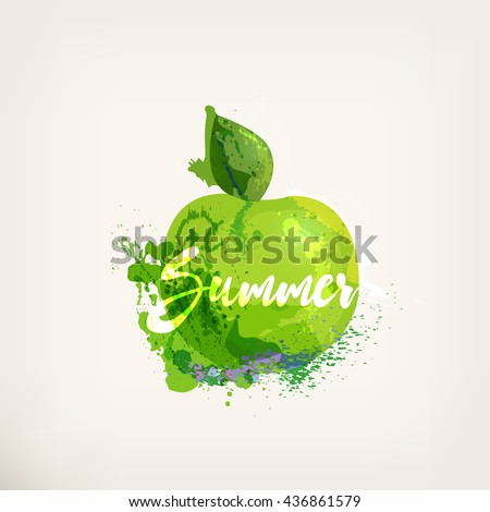 watercolor green apple with