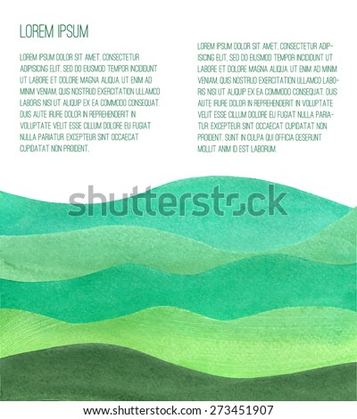 watercolor green hills vector