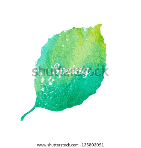 watercolor green leaf design