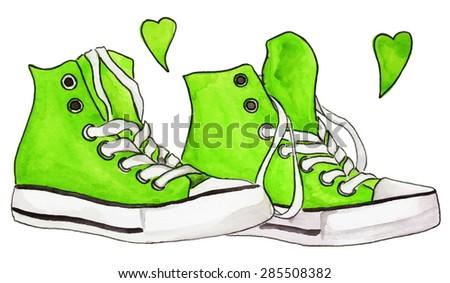 watercolor green sneakers pair